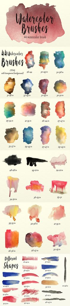 Watercolor Brushes Pack — Photoshop ABR #branding #photoshop brushes • Download ➝ https://graphicriver.net/item/watercolor-brushes-pack/20391327?ref=pxcr