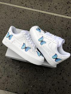 shoes sneakers jordans air force Butterfly Forces by TA Customs Jordan Shoes Girls, Girls Shoes, Custom Jordan Shoes, Nike Custom Shoes, Cute Shoes For Teens, Cute Sneakers For Women, Shoes For School, Custom Jordans, Souliers Nike