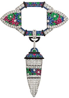 Pin, Paris, 1924 - Platinum mount set with pearl, diamonds, rubies, sapphires and emeralds suiffee size