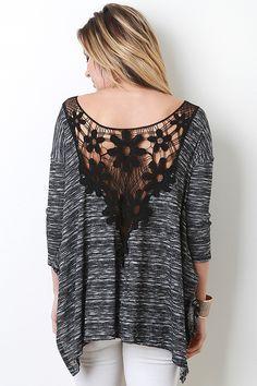 Crochet Back Long Sleeve Top - BUDI