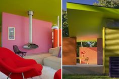 inside the shelter island pavilion in new york. colorful homes are awesome