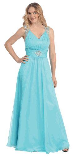Aqua Chiffon V-Neck Embellished Strap and Waist Prom Dress #aquablue #dressforprom