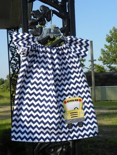 Navy Chevron Flutter Sleeve Dress with applique by MoJosBoutique, $37.00