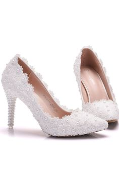 dc7dd52f8 Modest PU & Lace Upper Pointed Toe Ultra-High Heel Wedding Shoes With Pearls