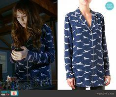 Spencer's plane print pajama shirt on Pretty Little Liars. Outfit Details: https://wornontv.net/70401/ #PLL