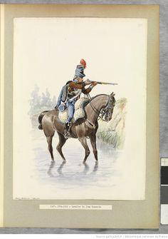 [Uniformes des régiments de hussards français.... II. - 7e-14e hussards / aquarelles par René Louis.] | Gallica
