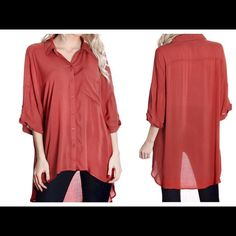 Light Weight Rust Blouse  Light weight breathable button down with hi lo cut. 100% Rayon. A65. Small Bust 44 Length in front 25, length in back 33, M Bust 46 length in front 27' length in back 34, L Bust 48 length in front 28' length in back 35' XL bust 50 length in front 29, length in back 36. Open to offers. Contempo Casuals Tops Button Down Shirts