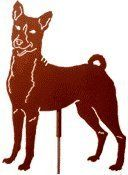 """Haute Steel Basenji Metal Dog Stake by Haute Steel. $38.00. FINISH: Rust colored Powdercoat. Detachable 30"""" Steel Pole. MATERIAL: 16 Gauge Steel. Handcrafted in USA. SIZE: 10"""" X 13"""". Basenji Steel Garden Stake - Our Haute Dog Garden Stakes are truly a symbol of the bond that exists between man and animal. They reflect the joy and comfort that we receive from and give to our pets. They are sure to win a place in your heart, just as your pet has. Now available in over 70 breed s..."""