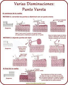 Varias disminuciones en Crochet - Mundo Crochet