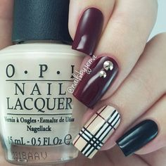 """A Nailie Named Jema ♡♡ on Instagram: """"How would you like some Burberry plaid nails since I'm so fancy! I love these so hard. Us Aussies are freezing through a super cold Winter and I feel like these are the ultimate winter nails. Painting those lines with nail polish and not acrylic paint was tricky though.. added some Swarovski in Rose Gold for that something extra."""""""