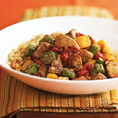 Cajun Pork  This pork stew has only mild Cajun seasoning -- a good introduction for folks new to the flavor. Hot rice sops up the pork's savory sauces, making this heart-healthy meal tasty and satisfying.  Cajun Pork  12345  Makes: 6 servings  Prep 20 mins  Cook 6 hrs (low) or 3 hours (high)