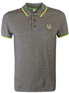 54b8a50d4196 Kenzo Tipped Tiger Logo Polo Shirt Grey - Tipped tiger logo polo shirt in  grey from