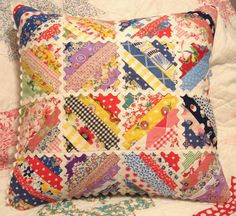VINTAGE HANDMADE QUILTED PATCHWORK PILLOW. via Etsy