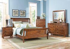 picture of Bedford Pines Brown 5 Pc Queen Sleigh Bedroom  from Queen Bedroom Sets Furniture