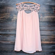 caged up flowy chiffon dress in nude blush - shophearts.com