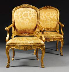 c1770 A pair of Italian carved giltwood armchairs, Rome, circa 1770  40,000 — 60,000 GBP 61,724 - 92,586USD Lot. Vendu 50,000 GBP (77,155 USD) (Prix d'adjudication avec commission acheteur)