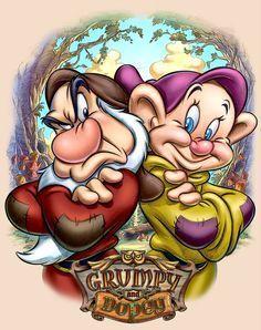Grumpy and Dopey - Pedro Astudillo Walt Disney, Disney Magic, Disney Art, Disney Princess Snow White, Disney Princess Tattoo, Disney Cartoon Characters, Cartoon Art, Grumpy Dwarf, Disney Sleeve
