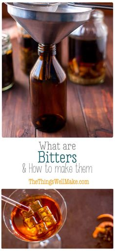 Whether meant for better digestion or making cocktails, bitters have numerous health benefits. Learn more about what are bitters and how to make them. Homemade Alcohol, Homemade Liquor, Cocktail Bitters, Cocktail Sauce, Cocktail Shaker, Yummy Drinks, Healthy Drinks, How To Make Bitters, Digestive Bitters