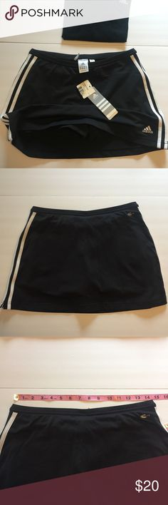 Adidas tennis skirt skort NWT M Adidas skort Sz M. NWT black with 3 stripe and logo. I also have an adidas tee with embroidered logo women's L more like a M adidas Shorts Skorts
