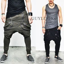Avant-garde Mens Low Drop Crotch Harem Double Zippered Baggy Sweatpants Guylook