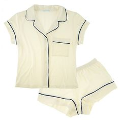 Eberjey Gisele Short PJ Set ($71) ❤ liked on Polyvore featuring intimates, pajamas, lingerie, pijamas, underwear, short pajama set, eberjey, eberjey pajamas, eberjey sleepwear and lingerie pajamas