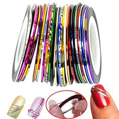 Beauty 30 Color Rolls Striping Tape Line Foil Transfer Decal On Nails DIY Tips Decoratios For 3D Nail Art Stickers