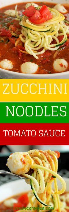 Zucchini Pasta with Tomato Sauce-Creole Contessa #HandHeldSpiralizer #vegan #vegetarian #oxo #lowcarb