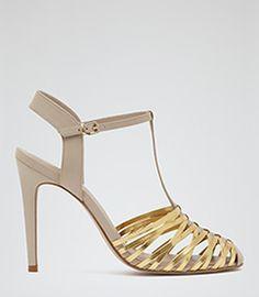 Marcie Rose Woven T-bar Sandals - REISS