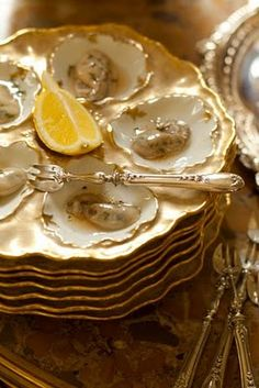 Beautiful Limoges oyster plates & antique French sterling silver forks...