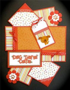 DOG-GONE CUTE Premade Scrapbook Page Mat Set *sewn*