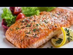 Norwegian-Style Oven Roasted Salmon Recipe - Sharecare Salmon is rich in vitamin D and heart-healthy omega 3 fats. Cook up this easy and delicious salmon recipe from dietician and fitness pro Kat Barefield. Delicious Salmon Recipes, Baked Salmon Recipes, Fish Recipes, Lunch Recipes, Healthy Recipes, Meatball Recipes, Healthy Foods, Norwegian Salmon Recipe, Norwegian Food
