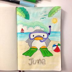 Bullet Journal - My June Set Up — Square Lime Designs Bullet Journal Icons, February Bullet Journal, Bullet Journal Cover Page, Bullet Journal Notebook, Journal Covers, Book Journal, Bullet Journals, Diary Covers, Doodles