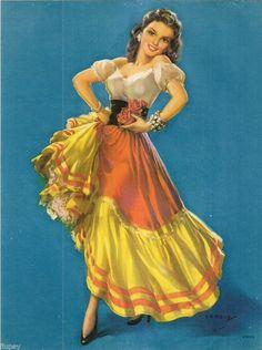 """Vintage Calendar Embossed Litho J Erbit Mexican Dancer Pin Up 7½"""" X 10"""" L2"""