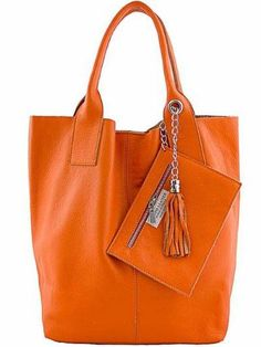 2bda91a6a94f Leather Bags Orange Etasico Italian Carmen Handbags - Superb everyday  Bucket Hobo style Bag. On