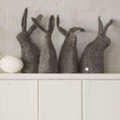 Grey felted bunnies