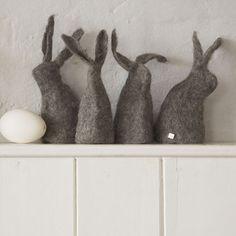 Grey felted bunnies