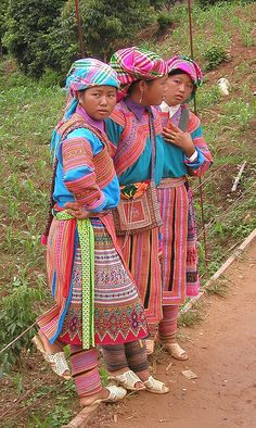 flower Hmong women, Vietnam Her legs look like they have something similar to the Mongolian wrappings I saw. Hmong People, Tribal People, Traditional Dresses, Traditional Art, Laos, Folk Costume, Costumes, Women In History, British History