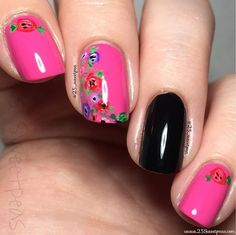 Magenta floral nails