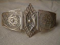ענתיקט - תכשיטים עתיקים וחפצי חן - תכשיטים ושעונים - צמידים - צמיד כסף מוזהב בעבודת פיליגרן יפהפיה