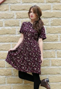 90s deep purple floral day dress