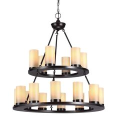 The Ellington 18-light multi-tiered chandelier provides abundant light to your home while adding style and interest. Imitating the soft glow of beeswax pillar candles, the simple, rustic silhouette of this fixture complements a wide range of decor.