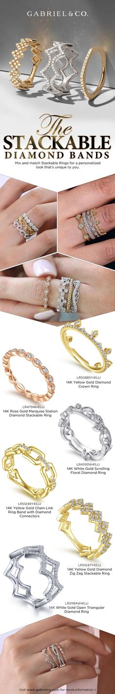 Mix and match Stackable Rings for a personalized look that's unique to you. LR50885Y45JJ,LR4794K45JJ,LR4593W45JJ,LR51248Y45JJ,LR51247Y45JJ,LR51184W45JJ #DiamondStackable#StackableRings #Rings#FashionRings #YellowGoldRing #WhiteGoldRing #RoseGoldRing Stackable Diamond Rings, Bangles, Bracelets, Yellow Gold Rings, Fashion Rings, Engagement Rings, Band, Gemstones, Lovers