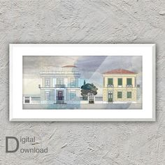 Downloadable architectural illustration of a greek | Etsy Neoclassical Architecture, Thessaloniki, Print Store, Any Images, Home Decor Styles, Online Printing, Digital Prints, Greek, Art Prints
