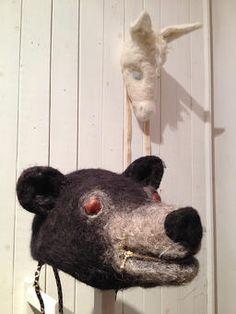 キッチンは一万畳/ ギャラリーボビン「かぶりもの展」のための作品  /クマのかぶりもの 目はトチの実 口はファスナー あごひもは兜のイメージで金糸入りの
