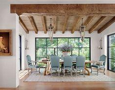 lanternes néoclassique meubles salle à manger rustique faisceau d'éclairage de plafond