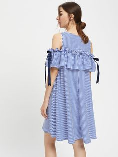 To find out about the Frill Cold Shoulder Bow Detail Swing Dress at SHEIN, part of our latest Dresses ready to shop online today! 50 Style Dresses, Emo Dresses, Simple Dresses, Casual Dresses, Short Dresses, Fashion Dresses, Summer Dresses, Party Dresses, Daily Dress Me