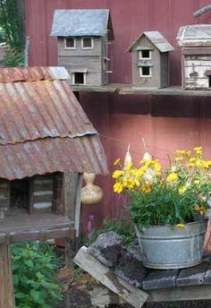 Sweet Liberty Homestead primitive garden with log cabin birdhouse!!