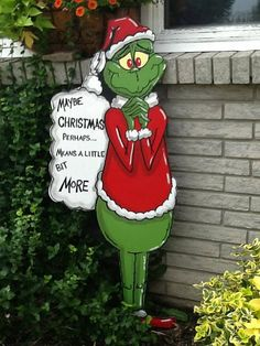 Grinch Yard Art 48 inches tall **All of my Yard Art is made out of 1/2 inch MDO sign board. This is a special product that is specifically made for outdoor use. It is more expensive than plywood but will easily withstand rain and snow and is extremely sturdy. Any type of plywood or
