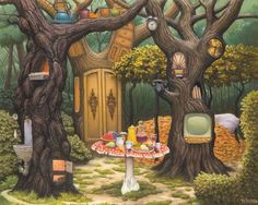 View Personal Forest By Jacek Yerka; Access more artwork lots and estimated & realized auction prices on MutualArt. Art Painting Images, Cool Paintings, Beautiful Paintings, Castle Mural, Art Magique, Graffiti Murals, A Level Art, Hyperrealism, Chinese Painting