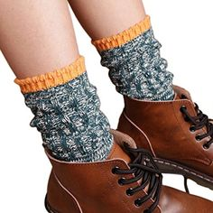 Mosunx Women Fashion Knitted Brief Paragraph Boot Cover Leg Warmer Socks Green * Check out this great product.